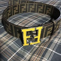 Fendi Tobacco College Leather Zucca Yellow FF Logo Buckle Belt 100% Authentic
