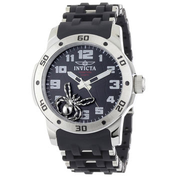 Invicta 1120 Men's Sea Spider Black Dial Black Rubber & Stainless Steel Watch