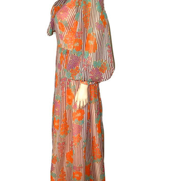 French Vintage 70s SILK Chiffon Pastel Floral Striped MAXI Dress Ample Sleeves Coral Peach - size S/6