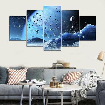 Printed Modular Picture Large Canvas Painting 5 Panel Beautiful Planets For Bedroom Living Room Home Wall Art Decor PENGDA