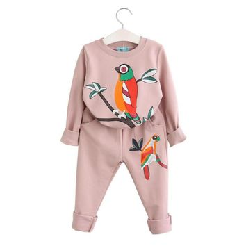 2017 Girls Clothing Sets Long Sleeve Spring Autumn Girls Set Bird Print Sweater