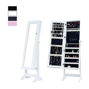 Jewelry Armoire with Mirror Door or Wall Mounted Jewelry Cabinet Organizer for Women,White