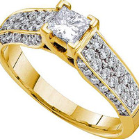 Diamond Bridal Ring with 0.38ctw Center Princess Stone in 14k Gold 0.93 ctw