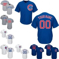 Custom Baseball Jerseys Chicago Cubs Flexbase Coolbase White Home Blue Grey Jersey Customized Personalized Jersey Size S-4XL