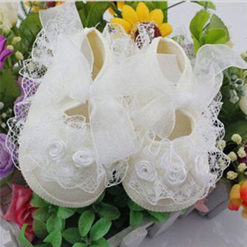 Todder pre-walker shoes Rose Flowers Ribbon bow Princess Newborn Baby Shoes soft sole