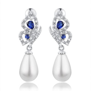 Shell Pearl W. Blue Teardrop and Clear Round Cubic Zirconia Earrings