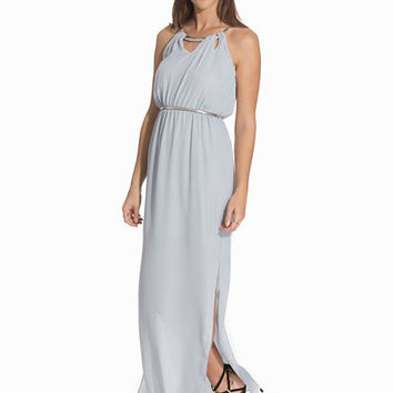 Crepe Bar Trim Neck Belted Maxi Dress, New Look