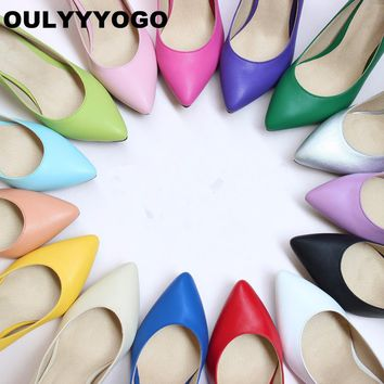 30 Candy Colors Concise Dress Shoes Sheepskin Pumps High Heels Women's Shoes Shallow Mouth Genuine Leather Size: 33--41
