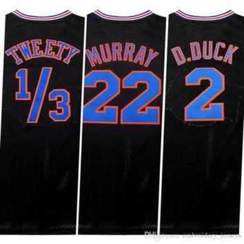 DCKL9 Stitched Tune Squad Jersey Men's 1/3# Tweety #! Taz #1 Bugs #2 D.duck #6 #10 Lola #22