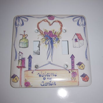 Garden themed double light switch cover