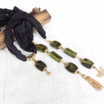 Black and Green Gold Jewelry Scarf, Black and Green Gold Scarf Necklace,  Turkish Silk Necklace,  Christmas Gifts