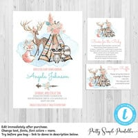 Girl Woodland Baby Shower Invitation Kit, Floral Woodland Animals, Boho, Template, Diaper Raffle, Book Request, Deer, Fox, Editable, WD04