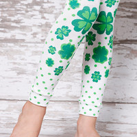 Leg Warmers - Green Clover Shamrock St Patricks Day