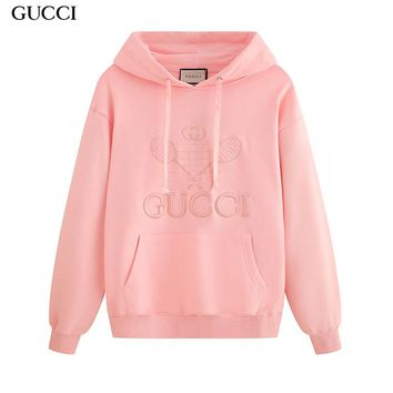 GUCCI hot seller of couples' long-sleeve hoodies with fashionable embroidery hoodies Pink