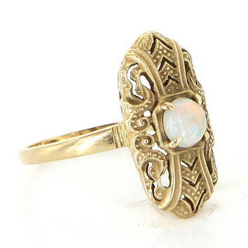 Vintage 14 Karat Yellow Gold Opal Deco Style Cocktail Ring Fine Estate Jewelry