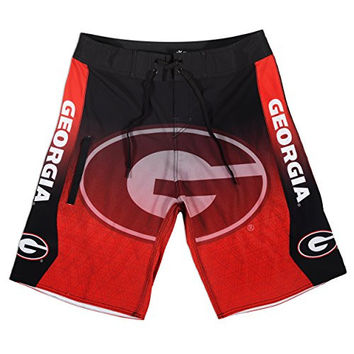 KLEW NCAA Georgia Bulldogs Gradient Board Shorts, X-Large, Red