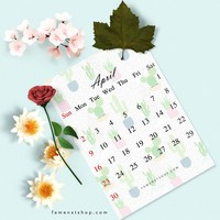 Free Monthly Calendar Printable, instant download, April
