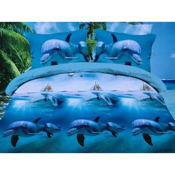 New Style Home Textile Bule Dolphin 3D Printing 4pcs Bedding Set Comforter Cover +Bed Sheet +Pillowcase (Size:King,Color:Blue)