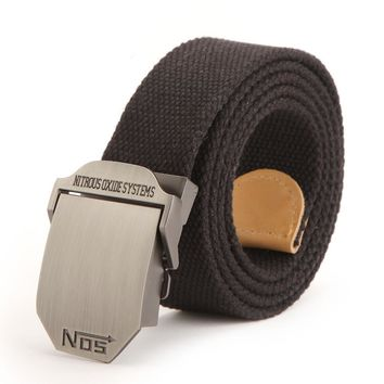 Wide Waist Belt No 5 Smooth Buckle Canvas Belt Men Designer 120cm Large Size Military Black Belt For Male