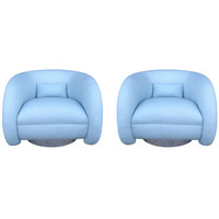 Outstanding Pair of Swivel Club Chairs by Ward Bennett