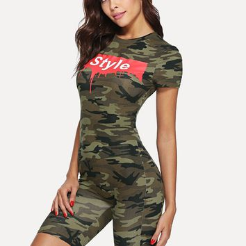 Style printed camo bodycon jumpsuit