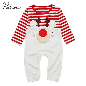 2019 Baby Spring Autumn Clothing Newborn Baby Boy Girl Unisex Christmas Romper Tracksuit Pajama Long Sleeve Clothes Deer Outfit