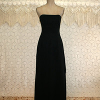 80s 90s Black Formal Strapless Gown Prom Dress Evening Dress Floor Length Small Medium Size 6 Size 8 Jessica McClintock Vintage Clothing
