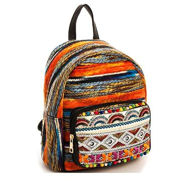 Orange/Multi Color Woven Fabric Backpack