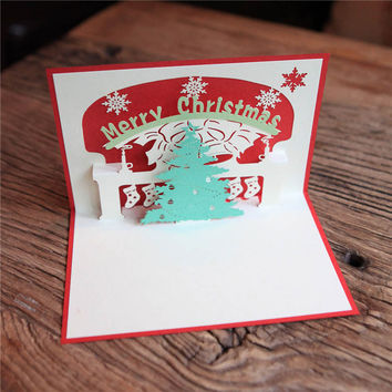 Happy New Year Greeting Card 3D Pop Up Handmade Christmas Tree