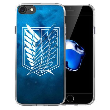 Cool Attack on Titan  logo Anime Japanese Soft Transparent Silicone  case Cover For iPhone X 8 7 7Plus 6 6S Plus 5 5S SE AT_90_11