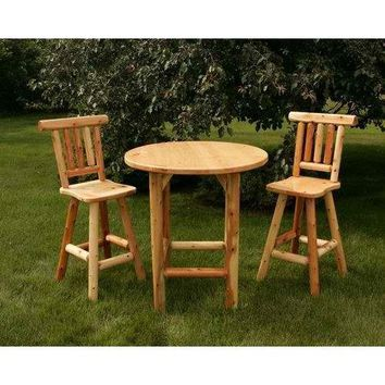 Moon Valley Rustic Cedar Bistro Table Set with 1 Table & 2 Chairs