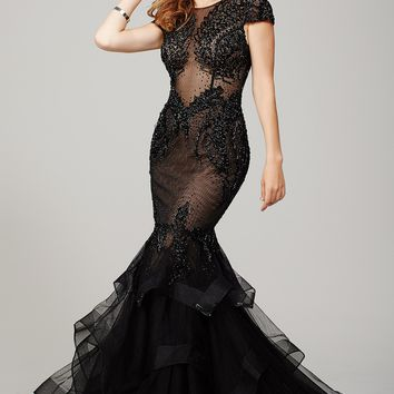 Black Cap Sleeve Prom Dress 26947