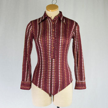Vintage 70's Bodysuit Burgundy Print Disco Shirt Long Sleeve