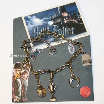 Licensed cool Harry Potter Horcrux Charm Bracelet Snake Lightning Bolt Diary Cup Diadem Ring