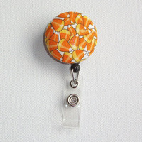 Retractable ID Badge Holder Reel  - Fabric Button - Candy Corn - Halloween