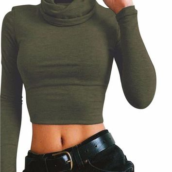 High Collar Long Sleeve Crop Top