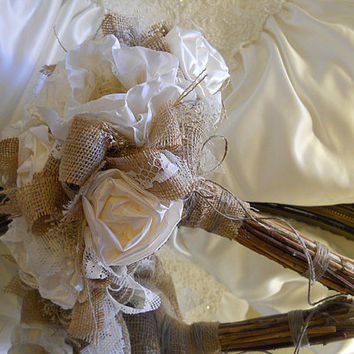 Burlap and Ivory Peony Bridal Wedding Bouquet, handmade ivory peonies, vintage pearls, vintage lace, babies breath and natural stem handle.