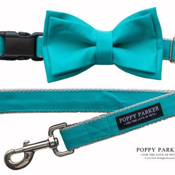 Teal Dog Collar with Removable Layered Bow Tie by Dog and Bow