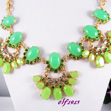 NEW J. Crew Style Inspired Bib Necklace Statement Necklace,bridesmaid gifts, Rhinestone shining,  flower necklace, Fresh green,