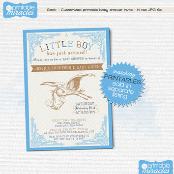 Stork baby shower invitation card, Vintage printable boy baby shower invitation / blue, navy, brown, customized digital printable file