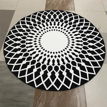 Creative Polyester Round Carpets For Living Room Computer Chair Area Rug Children Play Tent Floor Mat Brief Yoga Mat/Carpet