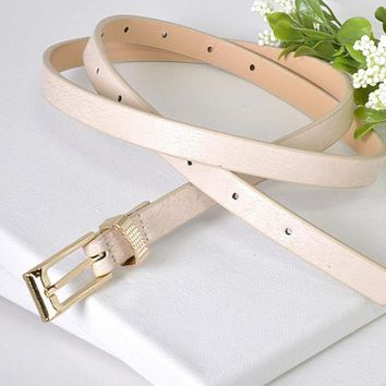 Engrave Ring Skinny Faux Leather Belt