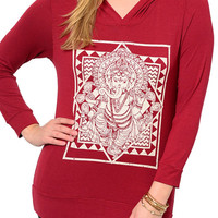 Burgundy Plus Size Trendy Graphic Print Long Sleeve Hooded Top