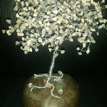 Pink Opal and rose quartz tree of life on heart stone base handmade silver wirewrapped