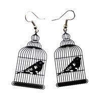 Birdcage Shaped Cut Out Filigree Dangle Drop Earrings in Black | Animal Jewelry