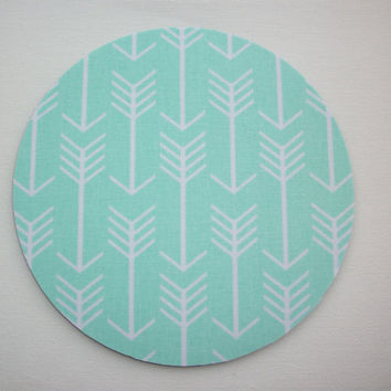Mouse Pad mouse pad / Mat - Mint white arrows round or rectangle office accessories desk home decor