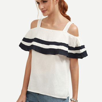White Striped Ruffled Cold Shoulder Top [6222038852]