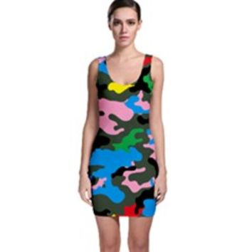Rainbow Camouflage Bodycon Dress