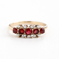 Antique Victorian 10k Rose Gold Garnet Doublet & Seed Pearl Ring - Size 6 3/4 Simulated Ruby Red Pink Stones Fine Jewelry