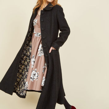 Elegance of the Era Coat in Noir | Mod Retro Vintage Coats | ModCloth.com